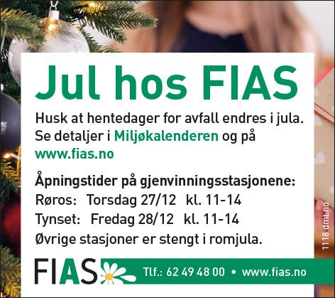 FIAS åpningstider i julen