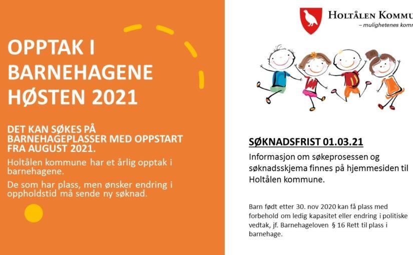 Opptak i barnehagene 2021